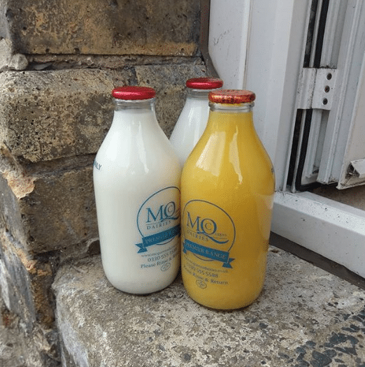 McQueens Dairies Glass Milk Bottles