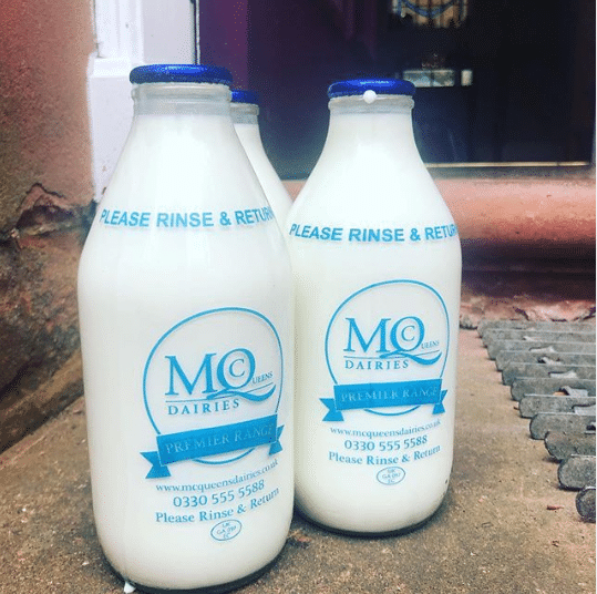 McQueens Dairies glass bottles