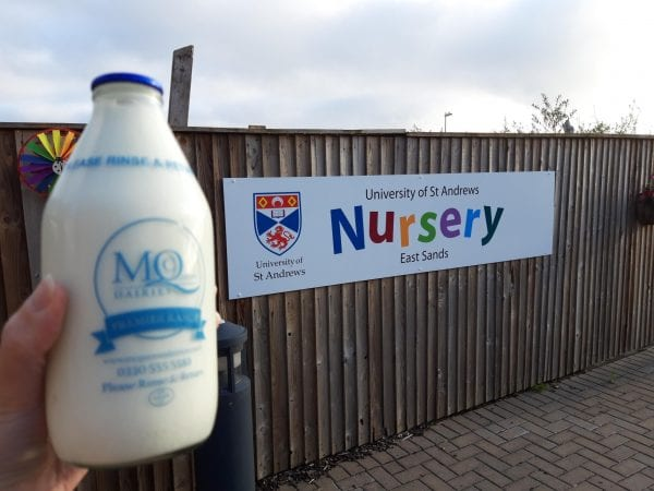 University of St Andrews Nursery with McQueens Dairies Glass Bottle