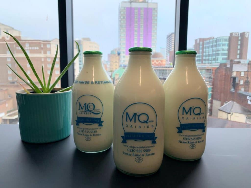 Glass McQueens Dairies Milk Bottles
