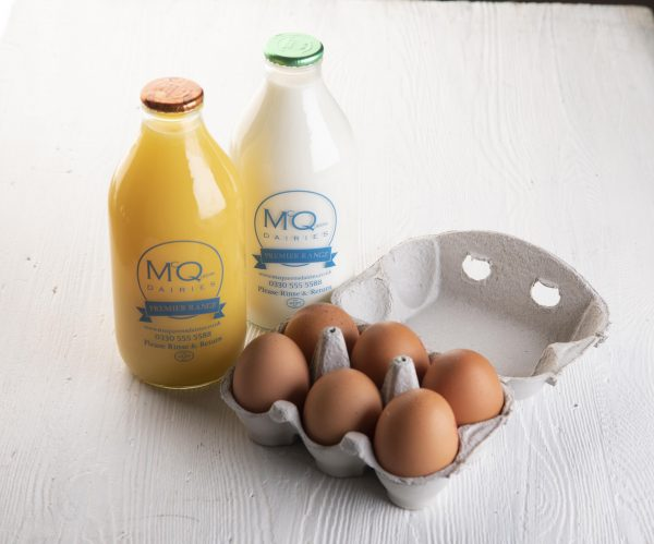 McQueens milk, juice and eggs